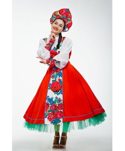 Женский народный костюм Хороводный: платье, кокошник (Украина)