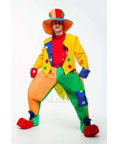 Взрослый костюм Клоун Цветик: водолазка, брюки, фрак, обувь, шляпа (Украина)