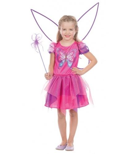 Детское платье розовой бабочки: платье, крылья, палочка (Германия)