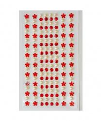 Стразы самоклеящиеся цветочки+жемчуг, красные