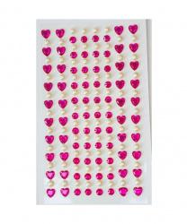 Стразы самоклеящиеся сердечки+жемчуг 152 шт, малиновые