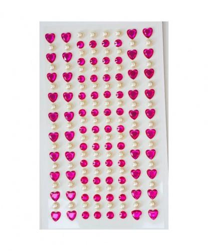 Стразы самоклеящиеся сердечки+жемчуг 152 шт, фуксия