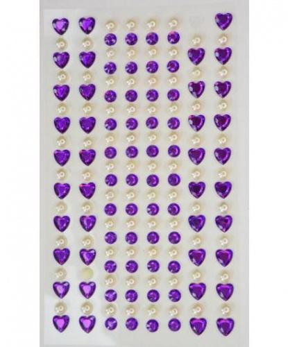 Стразы самоклеящиеся сердечки+жемчуг 152 шт, фиолетовые