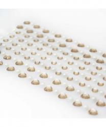 Стразы самоклеящиеся сердечки+жемчуг 152 шт, светло-золотые