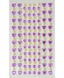 Стразы самоклеящиеся сердечки+жемчуг 152 шт, лиловые