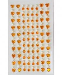 Стразы самоклеящиеся сердечки+жемчуг 152 шт, золотые