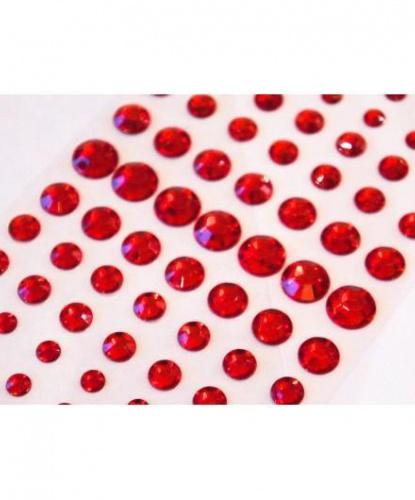 Стразы самоклеящиеся круглые 91 шт, красные