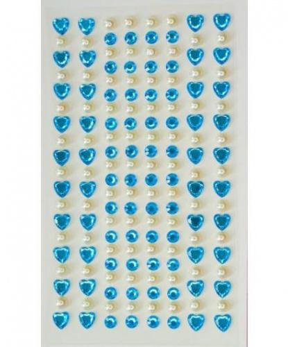 Стразы самоклеящиеся сердечки+жемчуг 152 шт, голубые