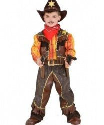 Детский костюм Ковбой для мальчика: жилетка, накладки на туфли, платок, пояс, рубашка, штаны (Италия)