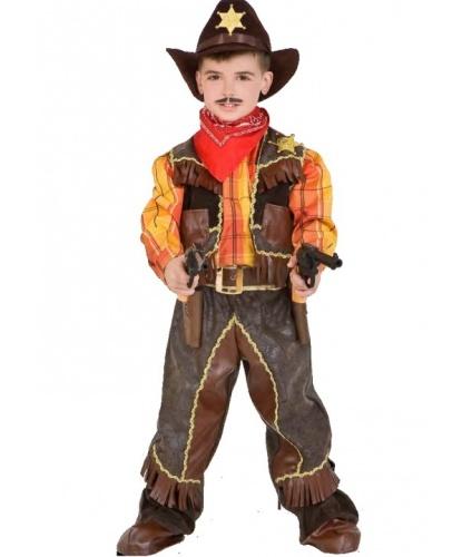Детский костюм Ковбой для мальчика: жилетка, накладки на туфли, платок, пояс, рубашка, штаны, шляпа, 2 револьвера (Италия)