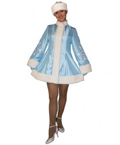 Голубой новогодний костюм снегурочки: платье, шапка, рукавицы (Россия)