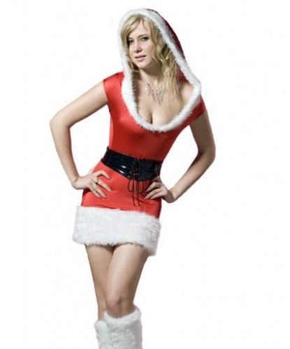 Новогодний костюм (женский): накладка на сапоги, платье, пояс (Китай)