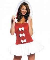 Красное новогоднее платье с бантиками: платье с капюшоном (Китай)