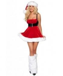 Костюм подружки Санта-Клауса: головной убор, платье (Китай)