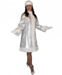 Серебристый костюм снегурочки: шуба , головной убор, рукавицы (Россия)