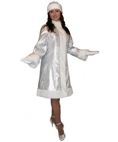 Серебристый костюм снегурочки (МИДИ): шуба , головной убор, рукавицы (Россия)