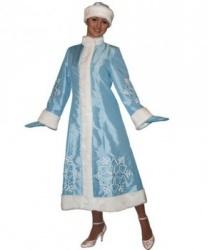 Длинная голубая шуба снегурочки: варежки, головной убор, шуба (Россия)