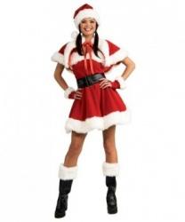 Костюм новогодний: колпак, накладка на сапоги, перчатки, платье, плащ, пояс (Германия)