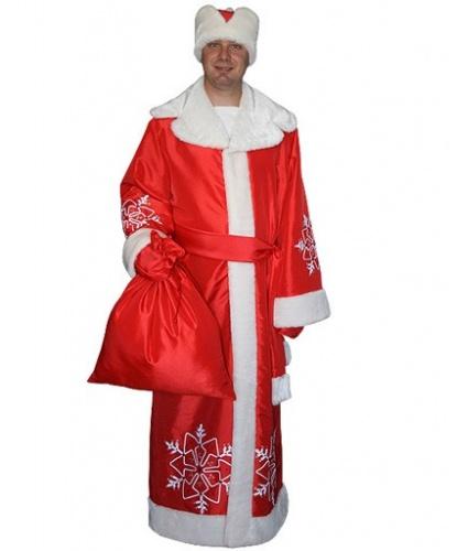 Костюм Деда Мороза с мешком: варежки, головной убор, шуба, кушак, мешок (Россия)