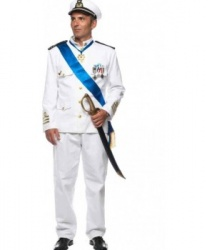 Белоснежный костюм морского капитана: брюки, китель, головной убор (Италия)