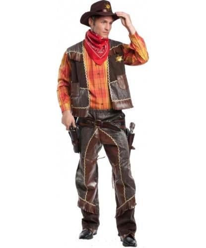 Взрослый костюм Ковбой: жилетка, платок, пояс, рубашка, штаны, шляпа (Италия)