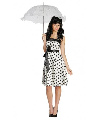 Белое ретро платье в горошек: платье, пояс (Германия)