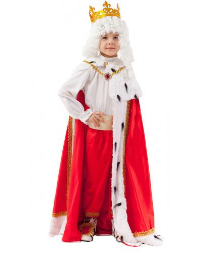 Детский костюм короля: рубашка, брюки, мантия, пояс, накладки на обувь, подвеска, парик и корона (Россия)
