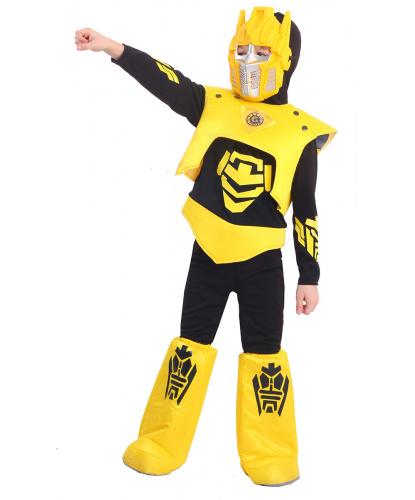 Детский костюм желтого робота: кофта, жилет, штаны, сапоги, маска (Россия)