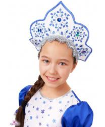 """Кокошник """"Снегурочка"""" с голубой вышивкой."""