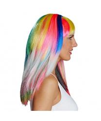 Разноцветный парик с челкой