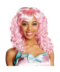 Розовый кудрявый парик