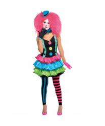 Подростковый костюм яркой клоунессы