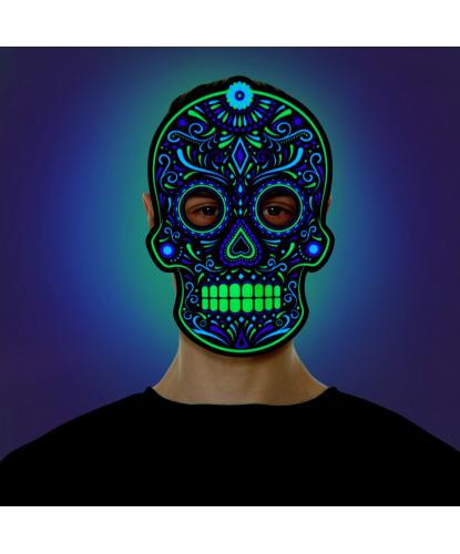 Маска светодиодная, реагирующая на звук День мертвых, пена (Великобритания)