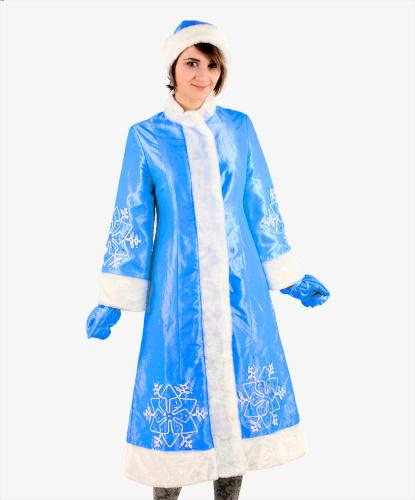 Синяя шуба снегурочки: варежки, головной убор, шуба (Россия)
