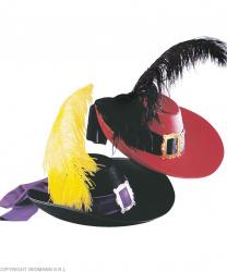 Шляпа мушкетера,красная с черным пером