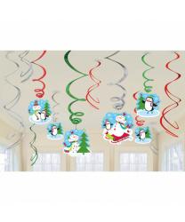 Бумажные фигуры снеговиков на Новый год