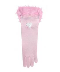 Розовые перчатки с перьями (детские)