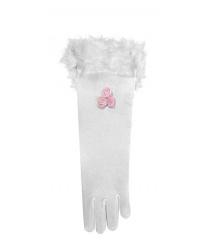 Белые перчатки с перьями (детские)