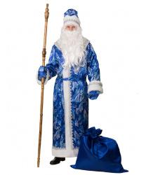 Костюм Деда Мороза, синий сатин