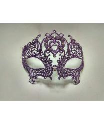 Маска Colombina Cuore, фиолетовая с блестками