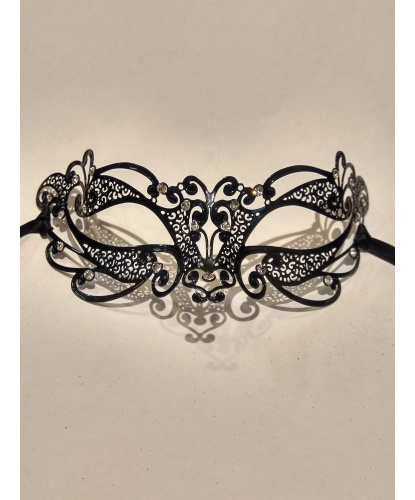 Венецианская черная маска Ninfea, металл (Италия)