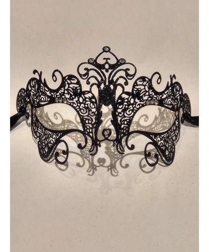 Карнавальная ажурная маска с черными блестками, металл (Италия)