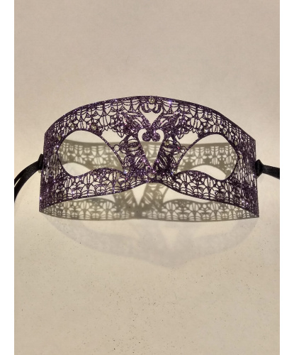 Маска прямоугольной формы, фиолетовая с блестками, металл (Италия)