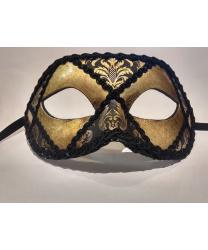 Венецианская темно-золотая маска с черным узором, мужская, тесьма, папье-маше (Италия)