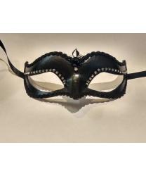 Венецианская маска Volpina, черная со стразами