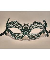 Венецианская маска зеленая с блестками Occhialina