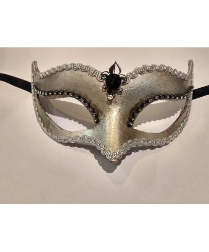 Венецианская маска Volpina, серебряная, папье-маше, стразы (Италия)