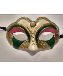 Карнавальная маска детская (бежево-зеленая), пластик (Италия)