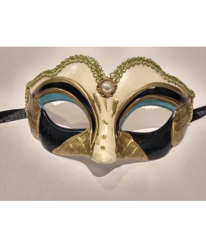 Карнавальная маска детская (бежево-черная), пластик (Италия)