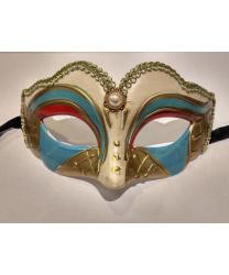 Карнавальная маска детская (бежево-голубая)